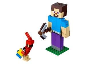 lego bigfig steve met papegaai 21148