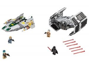 lego darth vaders tie advanced tegen de a wing starfighter 75150