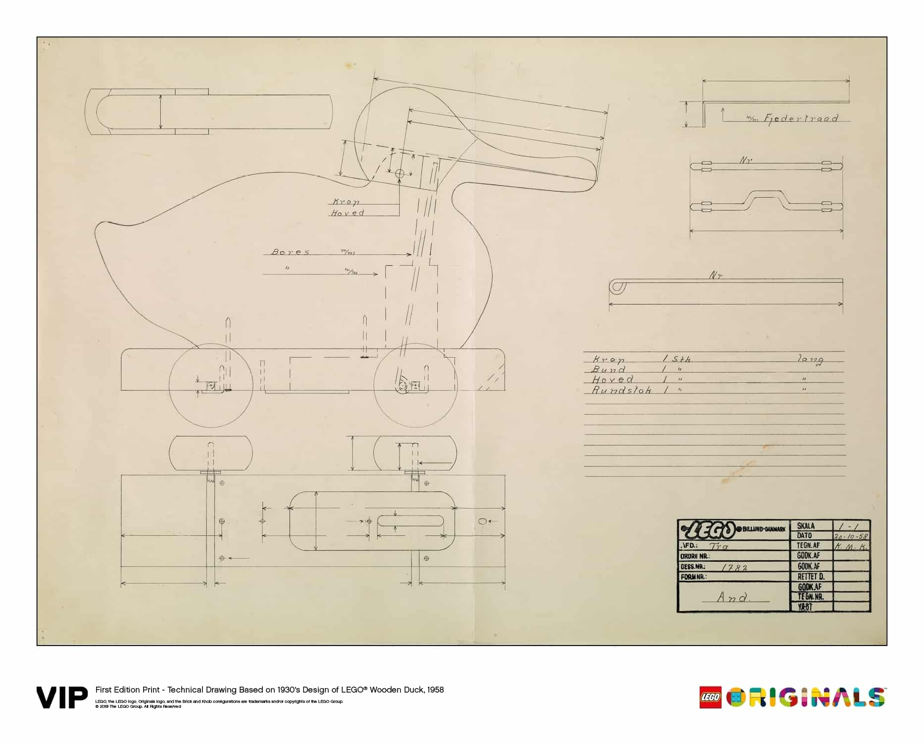 lego technical drawing wooden duck 1958 5005999