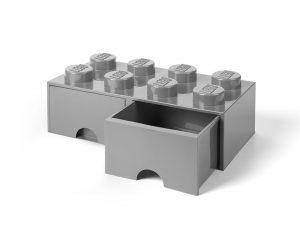 lego steengrijze opslagsteen met 8 noppen en 2 lades 5005720