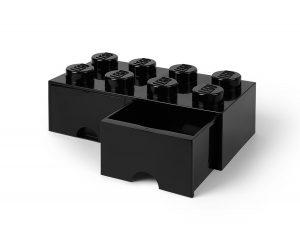 lego zwarte opslagsteen met 8 noppen en 2 lades 5006248