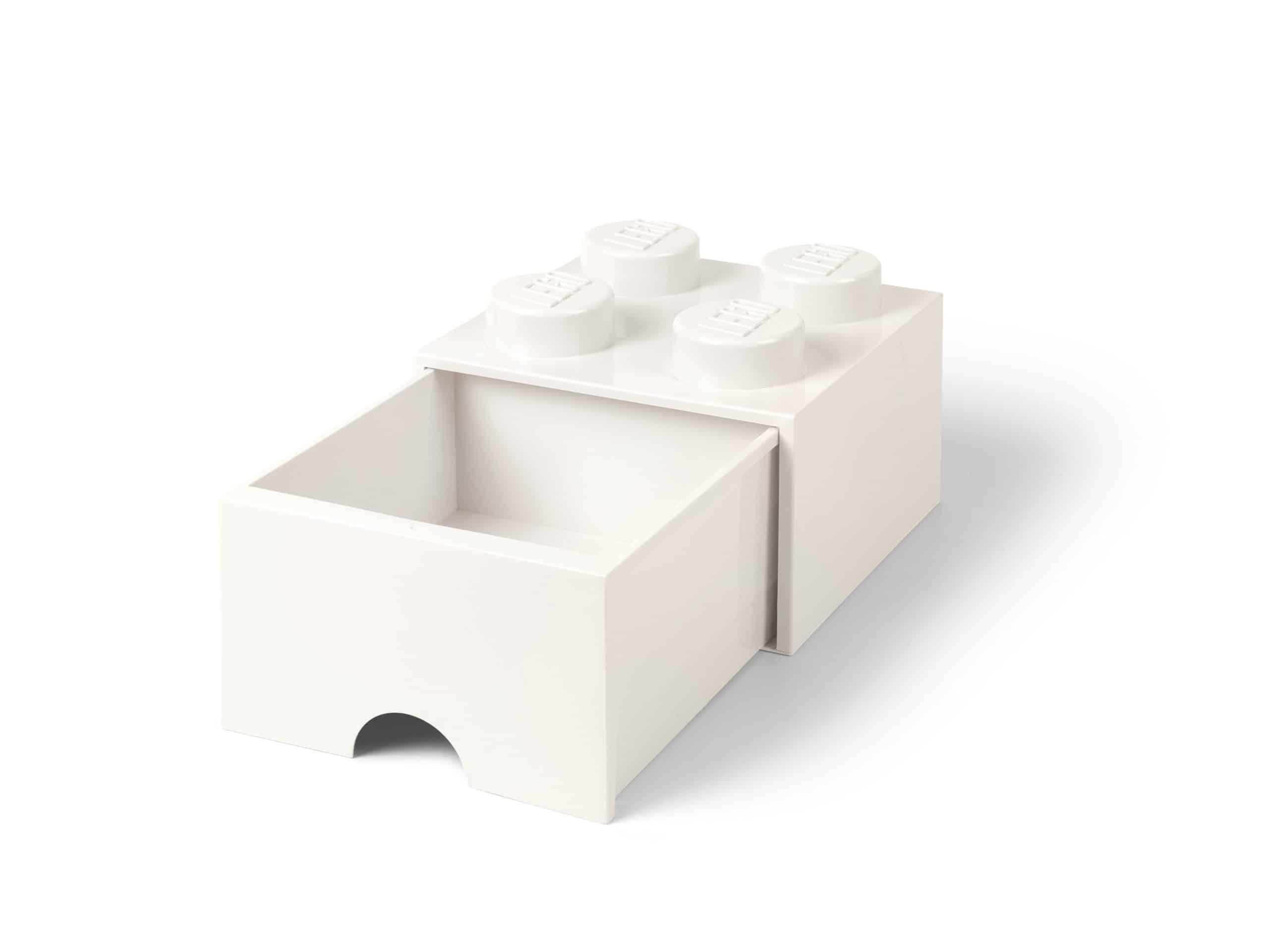 witte lego opbergsteen met 4 noppen en een lade 5006208 scaled
